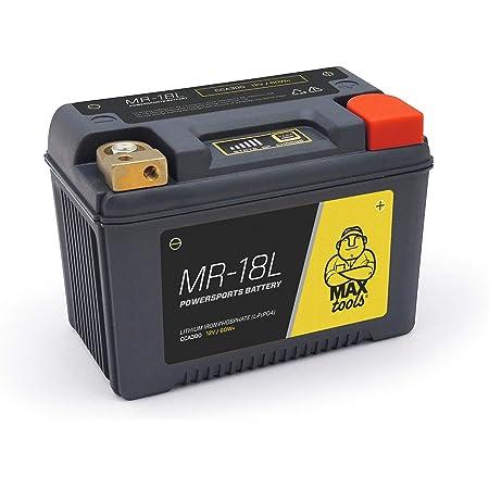 Maxtools Mr 18l Superleichte Lifepo4 Batterie Für Motorräder Quads Und Atvs Mit 12 V Verstärktes Gehäuse Und Bezeichnung Staat Des Aufladens Links 300 Cca Garten