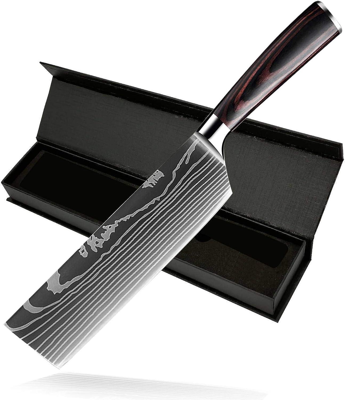 DFITO 7 Inch Cleaver Knife Kitchen Cheap SALE Start Seattle Mall Damascus Shar Knives Pattern