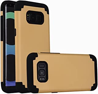 For samsung galaxy s8 Case, iBarbe Protective Dual Layer 2 in 1 Reinforced Flexible Soft rubber Silicone + Hard Plastic PC Shock-Proof Bumper Scratch-Resistant Shell corver (gold/black)