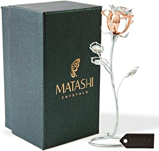 Matashi Chrome and Rose-Gold Plated Rose Flower Tabletop Ornament with Clear Crystals, Long-Stem, Metal Decorative Home Decor Elegant Craftsmanship