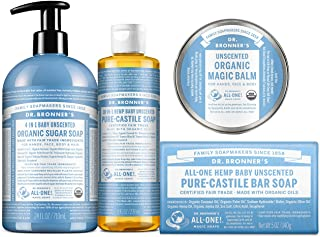 Dr. Bronner's Baby Unscented Gift Set - Pure-Castile Liquid and Bar Soaps, Organic Magic Balm, and 4-in-1 Organic Sugar Pu...