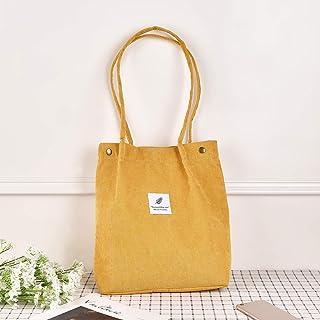 Krelymics Corduroy Tote Bag Wiederverwendbare Shopper Tasche Große Kapazität Umweltfreundlich für Frauen und Mädchen Shopping