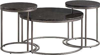 Lane Home Furnishings 7635-43 Round Nesting Cocktail Table, 3-Pack, Black top, Gunmetal Base