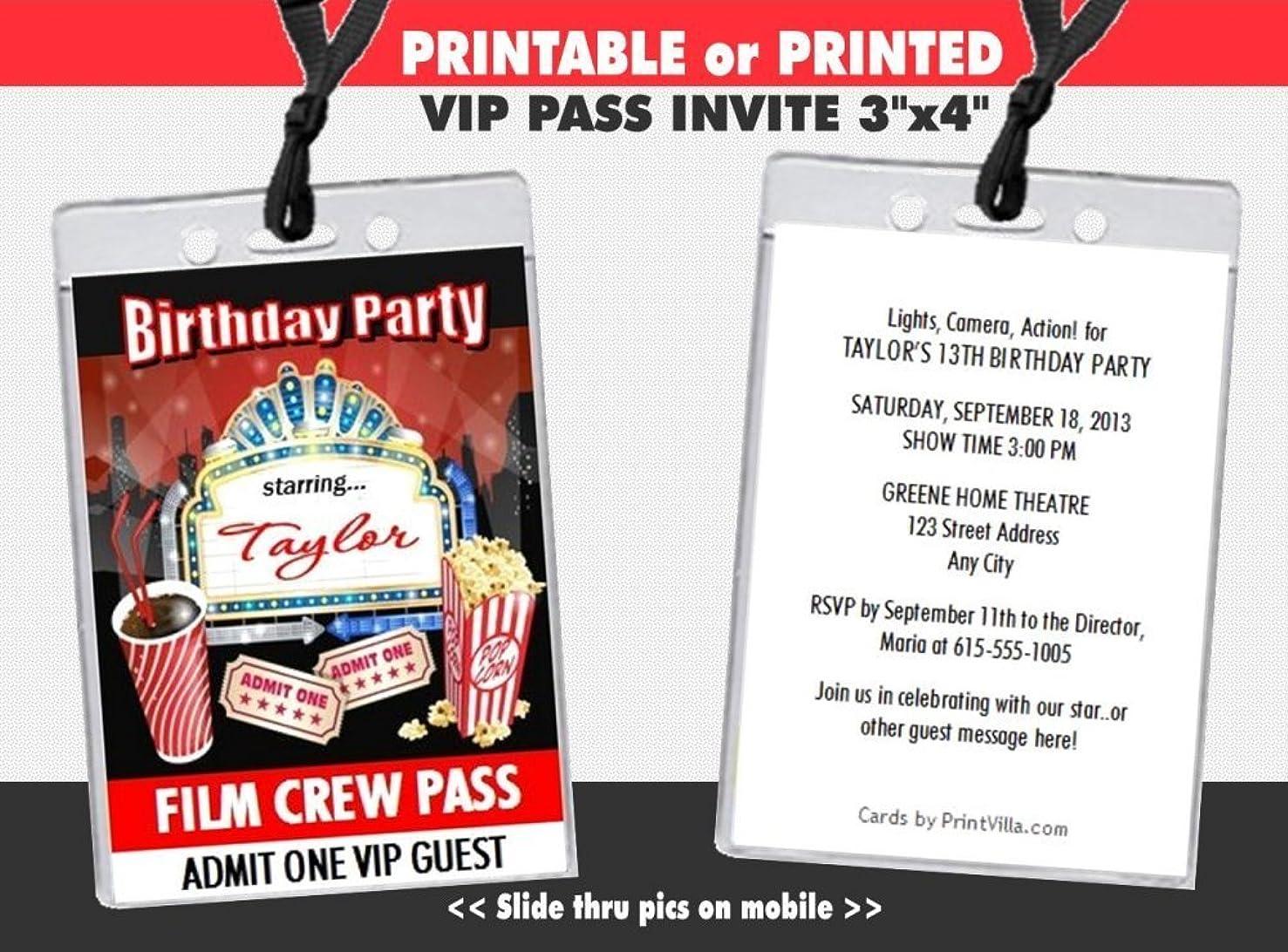 Movie Night Birthday Party VIP Pass Invitation, Printable or Printed Option
