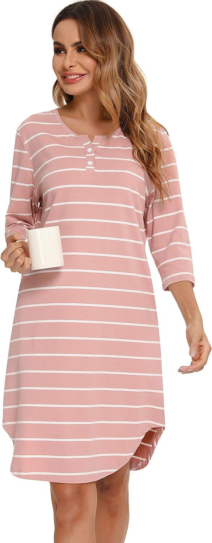 shopping Baltimore Mall Vlazom Women's Nightgowns Soft Cotton 3 Nightdress 4 Stripe