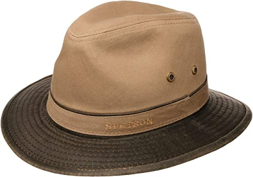Stetson Sombrero de Algodón Anti UV Hombre - Sol Verano Primavera/Verano