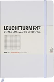 Leuchtturm1917 Medium A5 Squared Hardcover Notebook (White) - 249 Numbered Pages