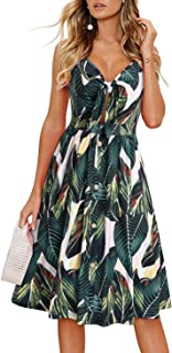 LAISHEN Womens Floral Sundress V Neck Tie Knot Front Spaghetti Strap Summer Dresses with Pockets