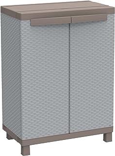 Terry Rattan 680 Armoire d'Intérieur et d'extérieur, 2 Portes à Effet Rotin, 1 Étagère Intérieure, Gris, 68x39x91,5 cm