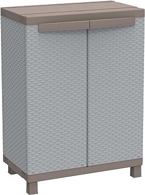 Terry Rattan 680 Armoire d'Intérieur et d'extérieur, 2 Portes à Effet Rotin, 1 Étagère Intérieure, Gris, 68x39x91,5 c