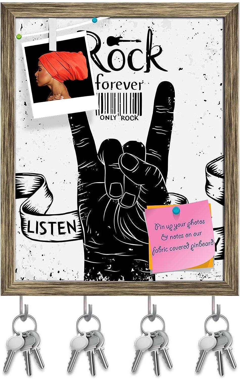 Artzfolio Rock & Roll Hand Sign Key Holder Hooks   Notice Pin Board   Antique golden Frame 16 X 20Inch