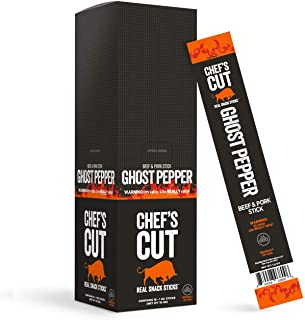 Chef's Cut Real Snack Pork and Beef Ghost Pepper Sticks - Premium Cuts, Gluten & Nitrite Free - Paleo Friendly, 1 Ounce (16 Count)