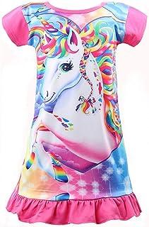 Girls Unicorn Nightgown Sleep Shirts Printed Star Rainbow Nightshirt Casual Nightie Princess Night Dresses