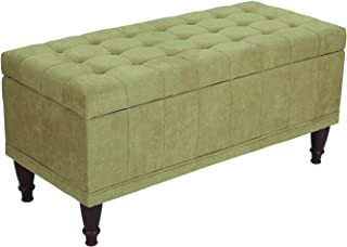 Adeco Fabric Sturdy Design Rectangular Tufted Lift Top Storage Ottoman Bench Footstool with Solid Wood Legs and Nailhead Trim