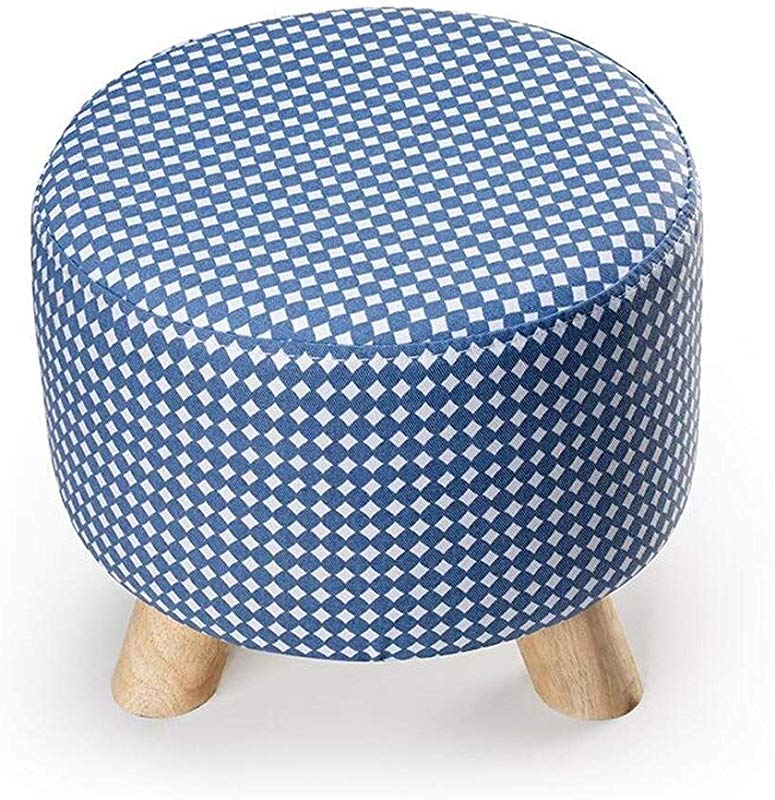 Carl Artbay Wooden Footstool Light Blue Little Bit Round Three Footstool Can Be Washed And Washed Change The Shoe Stool Cloth Home