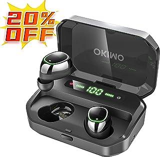 【第2世代 3500mAh IPX7完全防水】 OKIMO Bluetooth イヤホン LEDディスプレイ ワイヤレスイヤホン Hi-Fi 高音質 最新Bluetooth5.0+EDR搭載 3Dステレオサウンド 完全ワイヤレス イヤホン 自動ペアリング ブルートゥース イヤホン AAC対応 左右分離型 Siri対応 音量調整可能 超大容量充電ケース付き 電池残量インジケーター付き iPhone/ipad/Android適用 (ブラック)