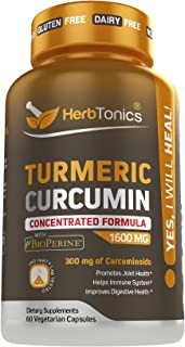 Concentrated Turmeric Curcumin 1600mg with Bioperine (Black Pepper) Capsules- Joint Supplement for Men and Women! Joint Pa...