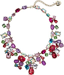 Mixed Stone Cluster Bib Necklace