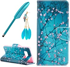 Galaxy Note 8 Wallet Case,ZSTVIVA Flower Floral Leather Wallet Case for Samsung Galaxy Note 8 FILP Filo Case with Phone Screen Pen Dust Plug,Galaxy Note 8 Plum Blossom Case - Blue