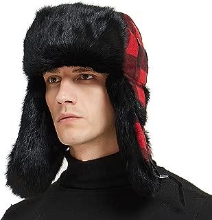 IKEPOD Buffalo Plaid Aviator Russian Winter Hunting Rabbit Fur Trapper Hat Cap