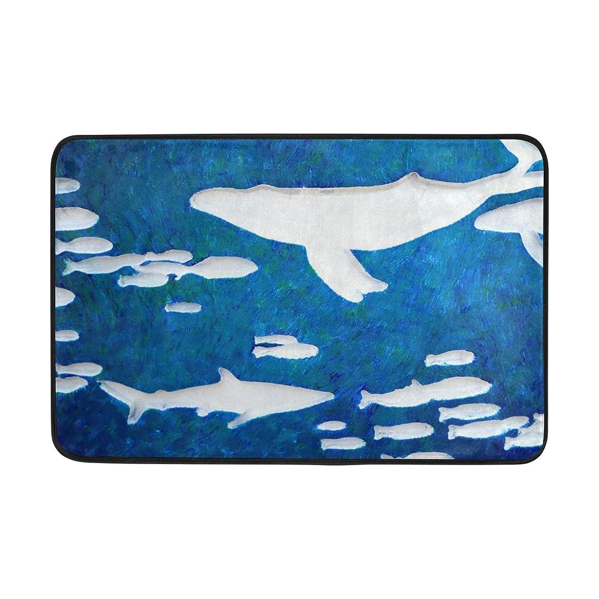 丁寧ボート拍手するAOMOKI 玄関マット カーペット ノーマット 室内 屋内用 北欧 滑り止め 40x60cm 海 鯨 ブルー かわいい きれい