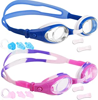 Portzon Kids Swim Goggles Anti Fog Swimming Goggles Clear No Leaking for Child Elimoons Swim Goggles for Men Women, Swimming Goggles Anti Fog UV Protection, 2 Pack Elimoons Kids Swim Goggles 2-Pack for Children and Early Teens Age 5-15,Wide Vision, Anti-Fog, Waterproof, UV Protection Kids Swim Goggles, Pack of 2, Swimming Glasses for Children and Early Teens from 3 to 15 Years Old, Clear Vision, Anti-Fog, Waterproof, UV Protection