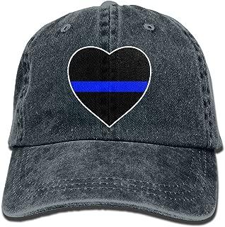 Men's Women's Adjustable Denim Jeans Baseball Cap Police Thin Blue Line Heart Snapback Cap