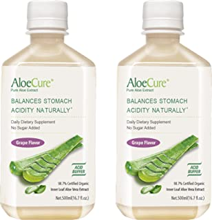AloeCure Pure Aloe Vera Juice for Bouts of Acid Reflux, Heartburn, and IBS G, 2 Bottles 500ml