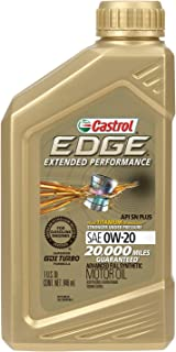 Castrol 06240 EDGE Extended Performance 0W-20 Advanced Full Synthetic Motor Oil, 1 Quart, 6 Pack