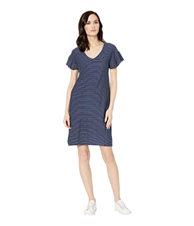 Tribal Textured Stripe Knit Ruffle Sleeve Dress (Ink) Women