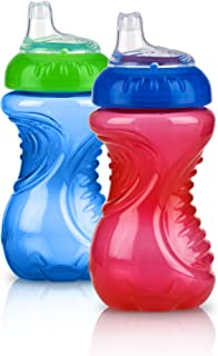 Nuby 2 Piece No Spill Easy Grip Trainer Cup 10 oz, Blue/Red