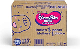 Mamypoko Jumbo Pack, Diaper Pants Extra Absorb, Size New Born upto 5Kg (120 Counts)