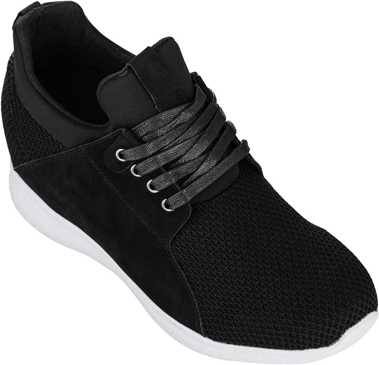 CALTO Men's Invisible Height Increasing Elevator Trainer shoes - Black Mesh Lace-up Lightweight Fashion Sneakers - 3.2 Inches Taller - H71922