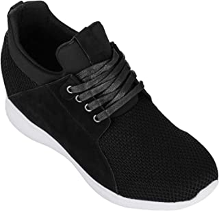 Men's Invisible Height Increasing Elevator Trainer Shoes - Black Mesh Lace-up Lightweight Fashion Sneakers - 3.2 Inches Taller - H71922
