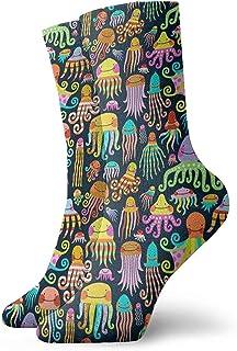 winterwang, Niños Niñas Crazy Funny Rainbow Pulpo Calamar Medusa Calcetines de vestir de novedad linda