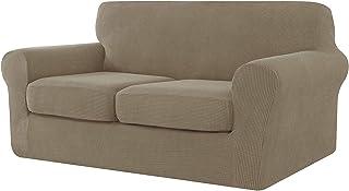 E EBETA Cubiertas de sofá, Funda de sofá 2 Plaza + 2 Fundas de cojín, Tejido Jacquard de poliéster y Elastano, Tunez Funda sofá (Color Arena, 2 Plazas)