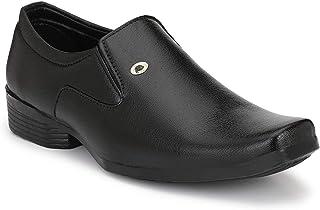 HEEDERIN Men's Black Synthetic Slip on Formal Shoes