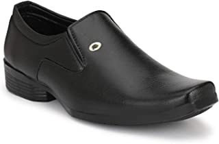 HEEDERIN Men's Black Synthetic Slip on Formal Shoes