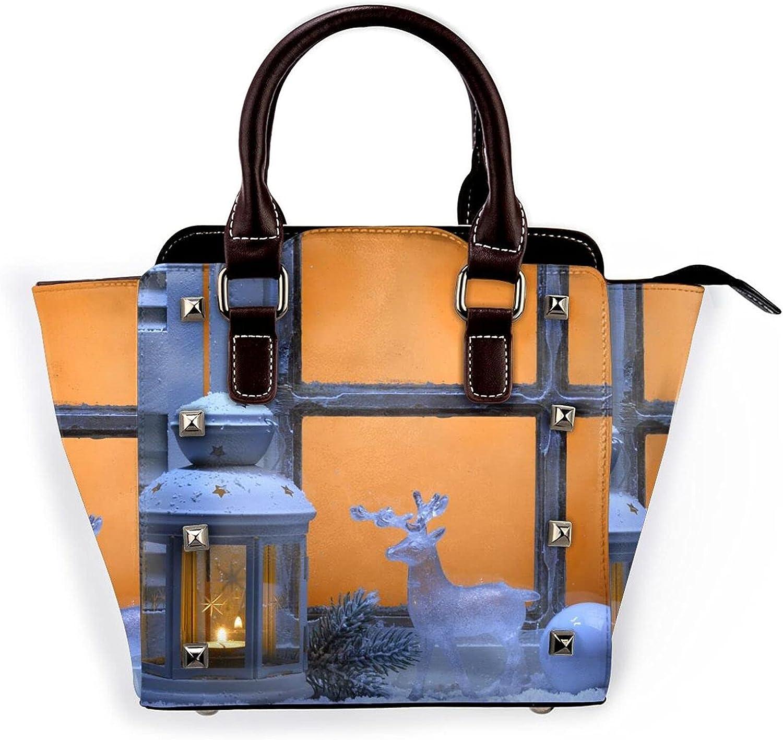 Ladies Leather Rivet Max 83% In a popularity OFF Shoulder Bag Multi-Fa Christmas Elkhandbag