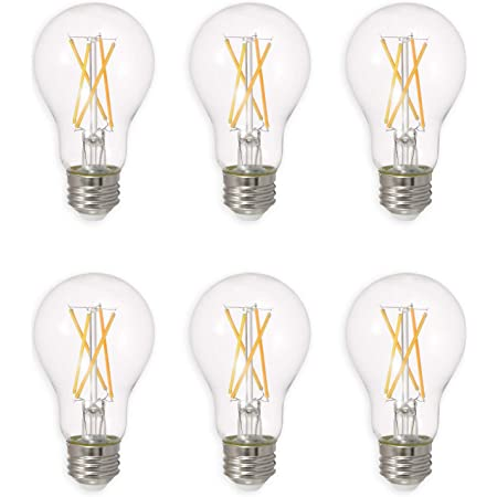 SYLVANIA LED TruWave Natural Series Light Bulb, 60W Equivalent, Efficient 8W A19, Medium Base, Dimmable, 800 Lumens, 2700K, Soft White, Clear - 6 Pack (40806)