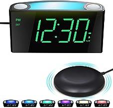 Trillende Wekker met Bedshaker, Luide Zoemer, 7 Kleuren Nachtlampje, Groot Digitale Scherm & Dimmer, 2 USB-Poorten,Snooze,...