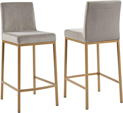 !nspire Velvet Counter Stool, Set of 2, Grey with Gold Leg
