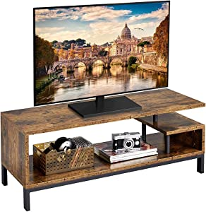 Yaheetech Industrial TV Stand for TVs up to 55 inch, Media Console Table with Storage Shelves for Living Room, Home Entertainment Center for Small Space, 42 x 16 x 16 inches, Rustic Brown