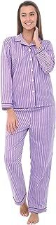 Alexander Del Rossa Women's Lightweight Button Down Pajama Set, Long Printed Cotton Pjs