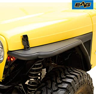 EAG Black Front Steel Fender with Flare Mesh Insert Fit for 97-06 Jeep Wrangler TJ