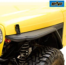 EAG Black Front Steel Fender Flare with Eagle LED Light Mesh Insert Fit for 97-06 Jeep Wrangler TJ