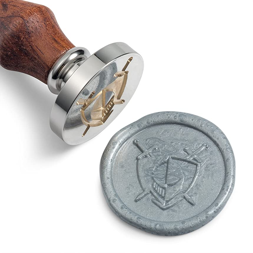 Mceal Wax Seal Stamp, Silver Brass Head with Wooden Handle, Knight Blade and Shield