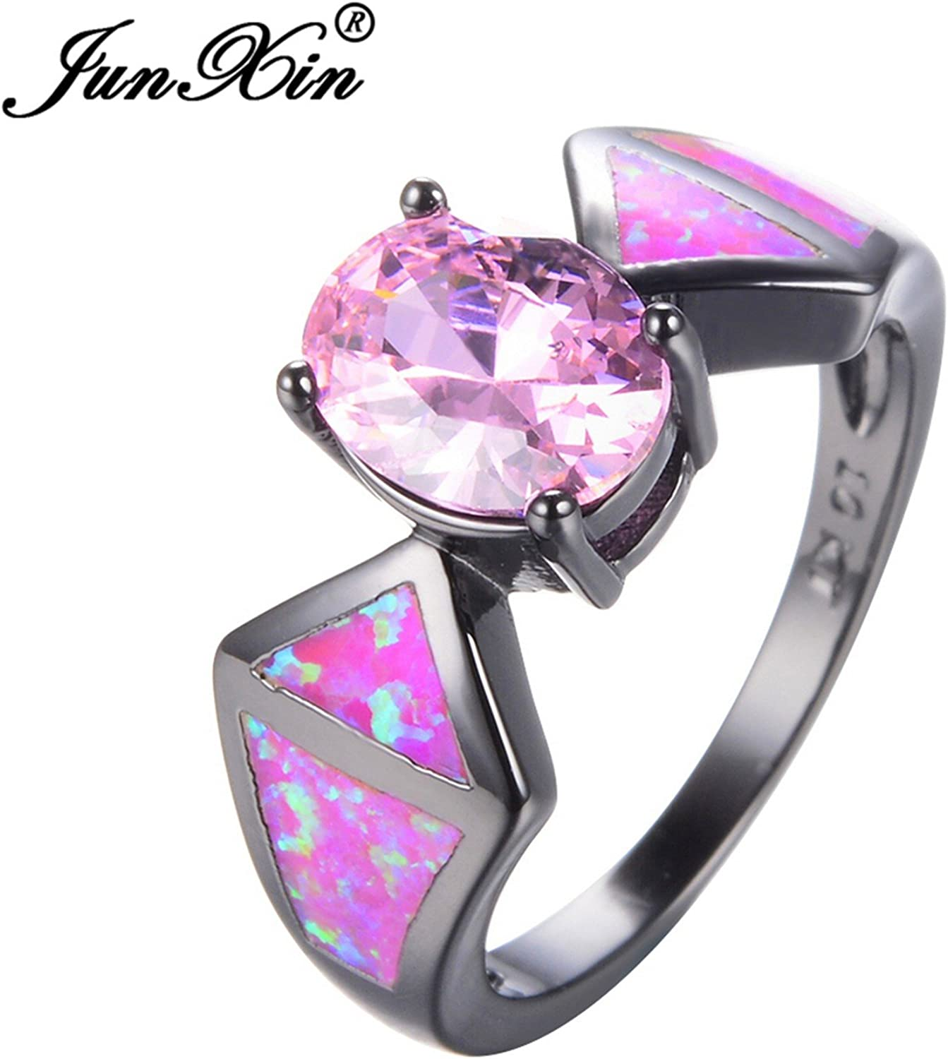 Slyq Jewelry Pink Fire Opal Ring Vintage Black gold Filled Jewelry Wedding Rings for Men and Women