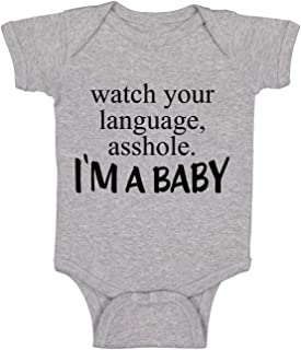 Watch Your Language A-Hole I'm A Baby Funny Cute Infant Creeper, One-Piece Baby Bodysuit