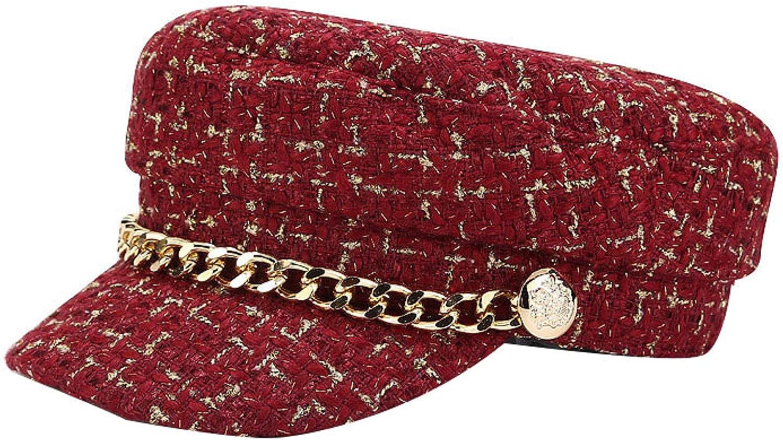 Fashion Max 78% OFF Newsboy Hats for Women San Diego Mall Tweed Chain Flat Plaid Top Visor